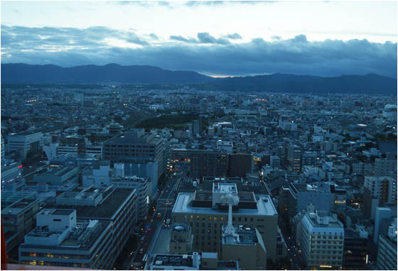 View across the city of Kyoto, as taken from the top of the Kyoto Tower.