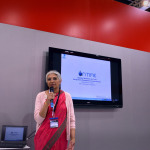 Dr Meena Desigi presents ON-TIME on the Ansaldo stand