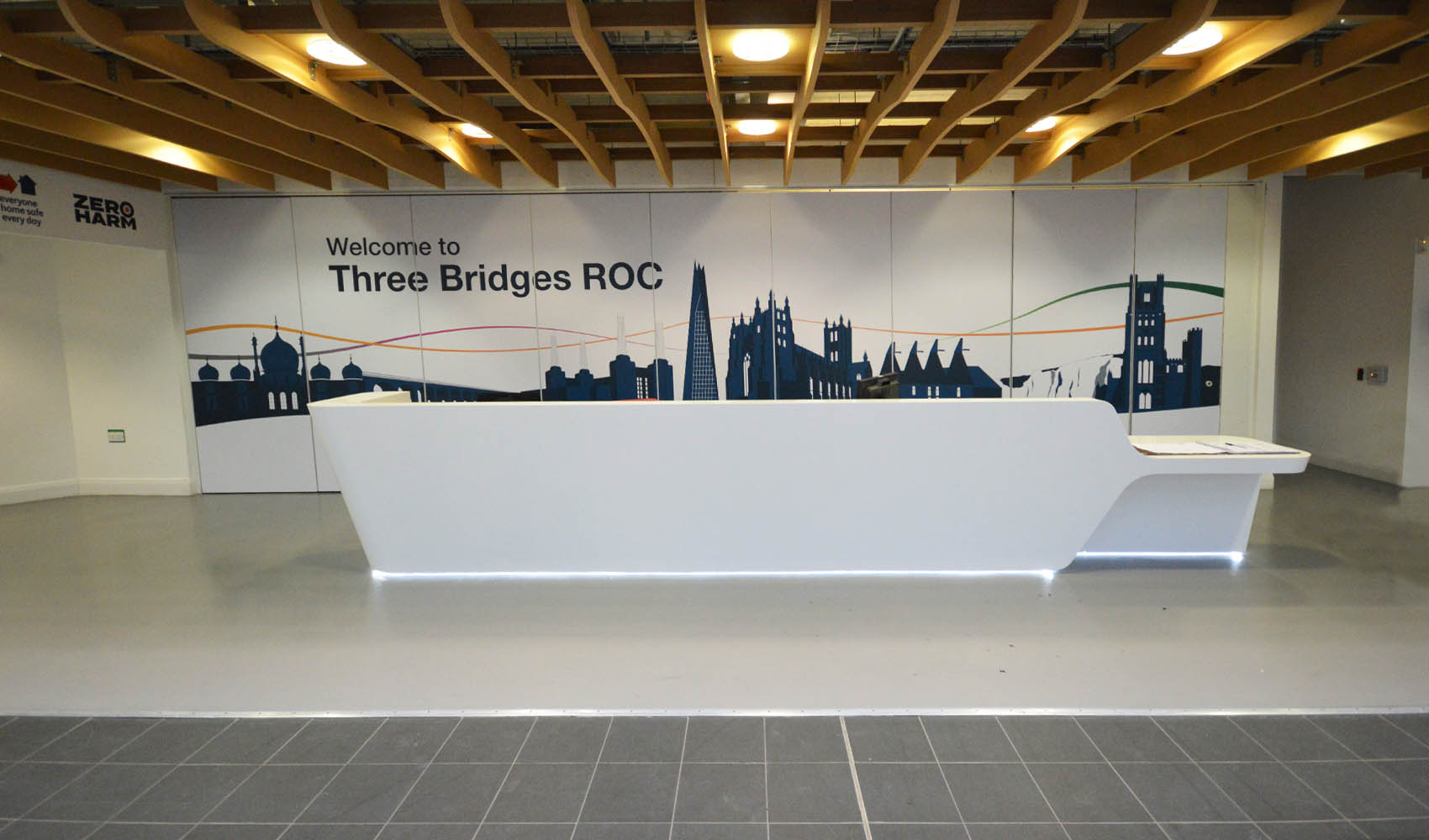 Three Bridges ROC - office branding - reception